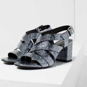 NWT Zara Grey Sparkly Strappy Sandals Size: 7.5